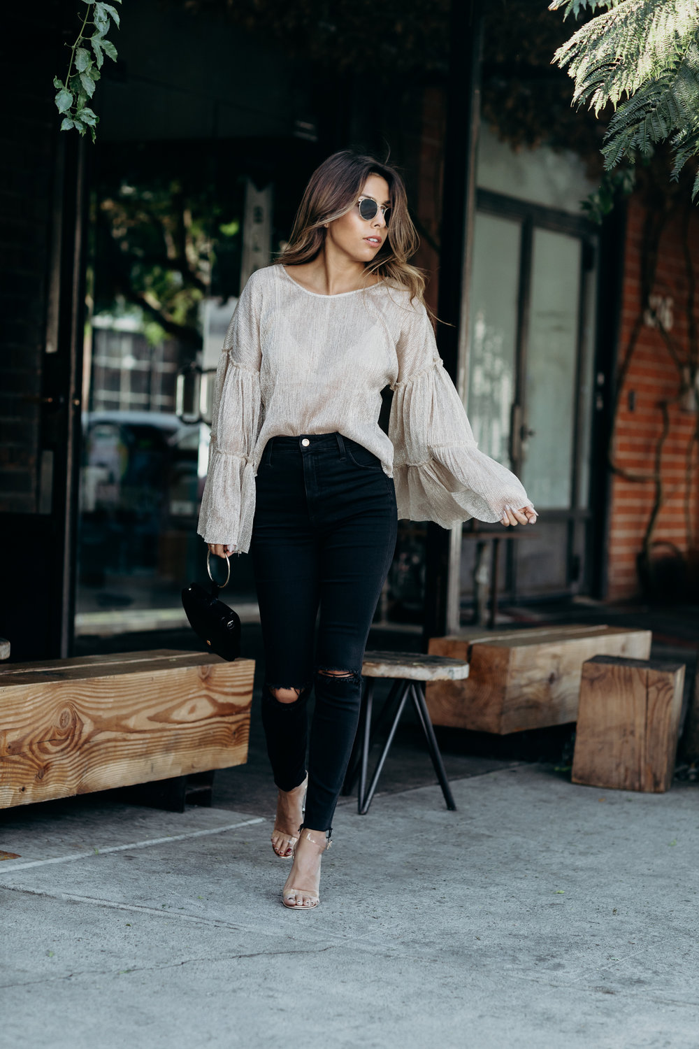 how to wear sheer metallic for holiday season, zara top