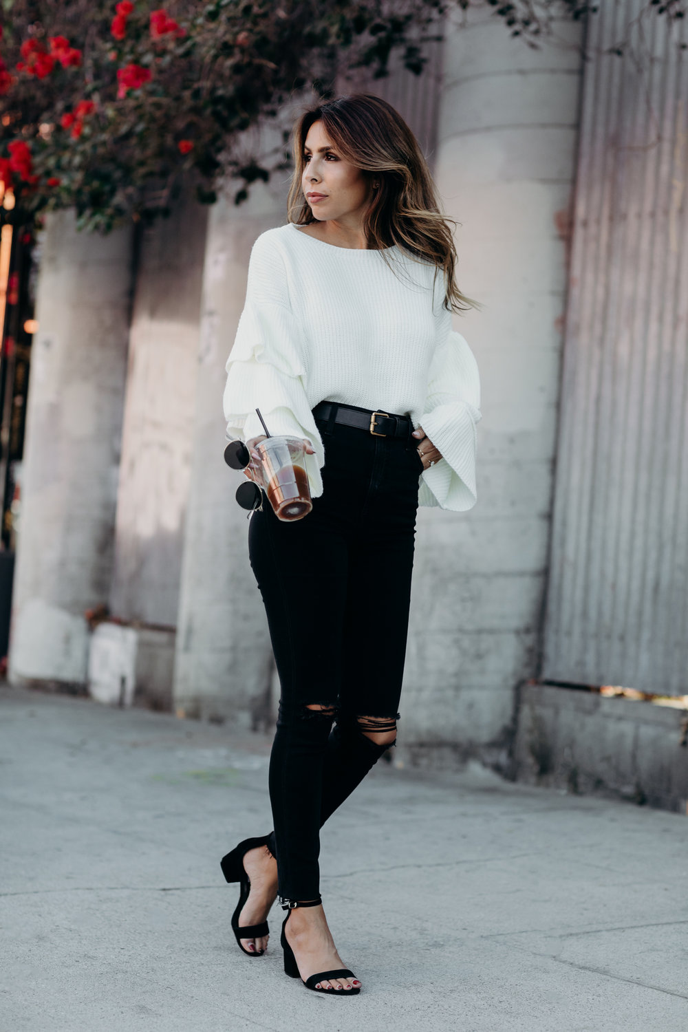how to wear ruffle sleeve sweater trend