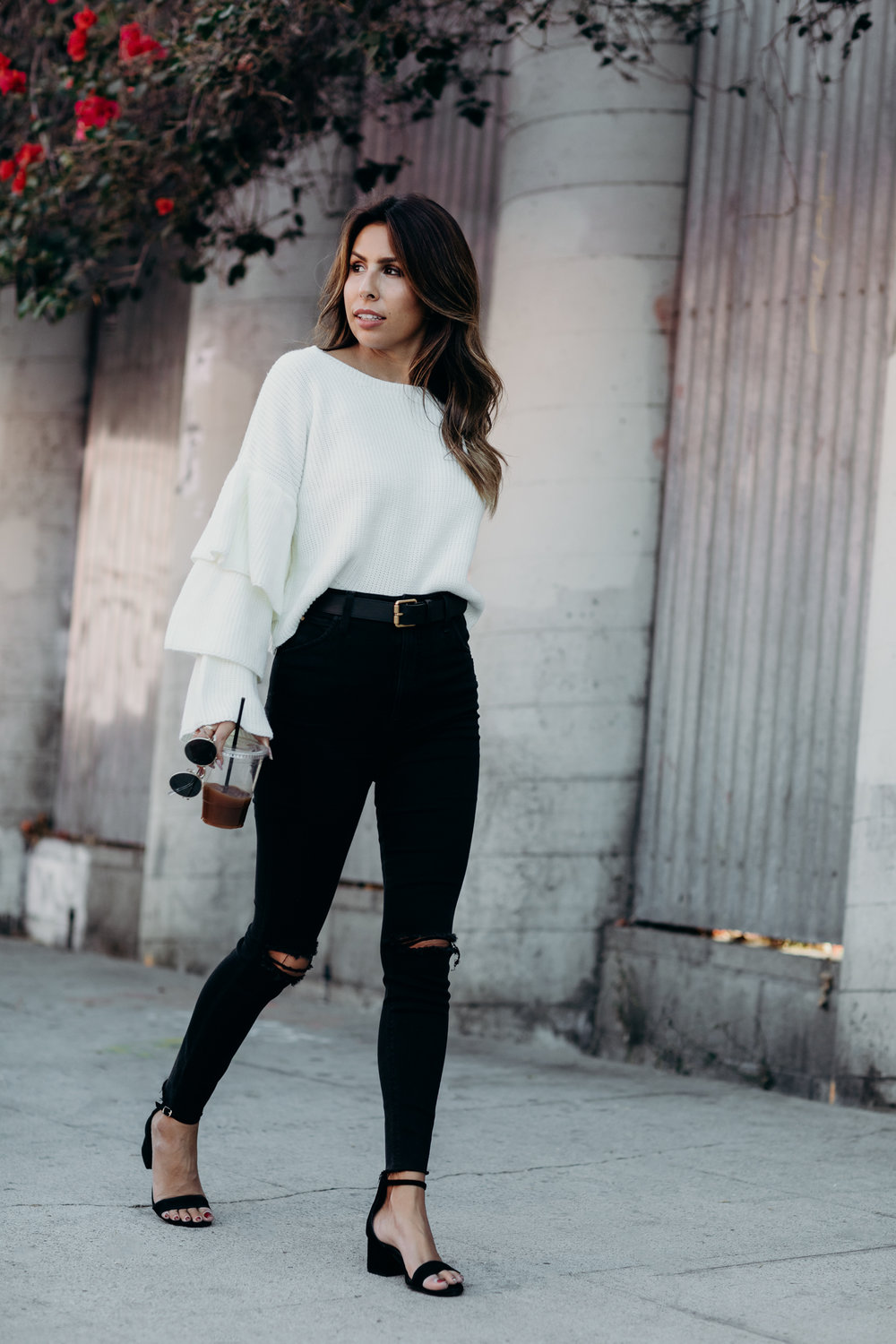 black and white fall outfit, how to wear ruffle sweater trend, everyday pursuits style