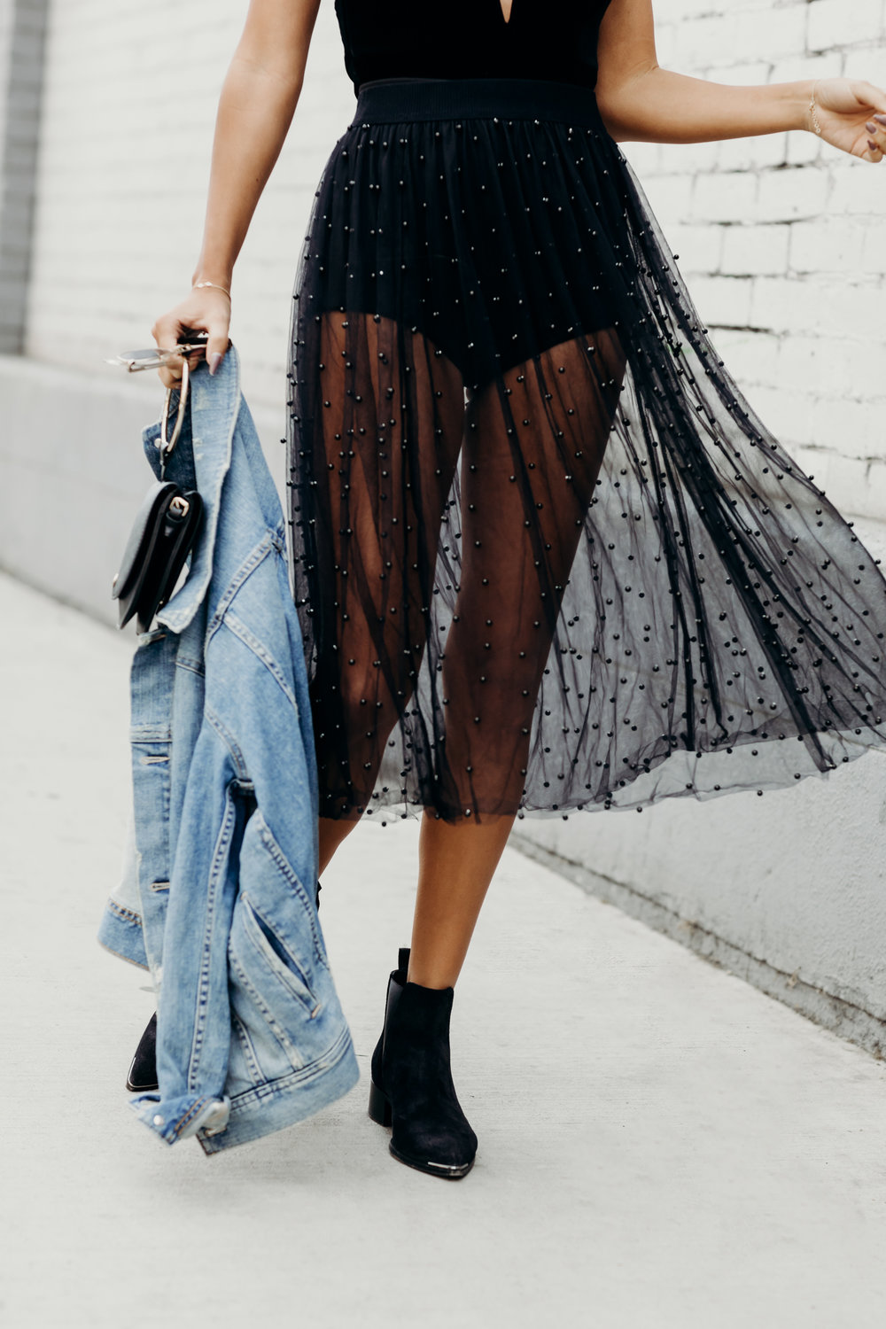 sheert skirt outfit, velvet bodysuit look, edgy holiday outfit ideas