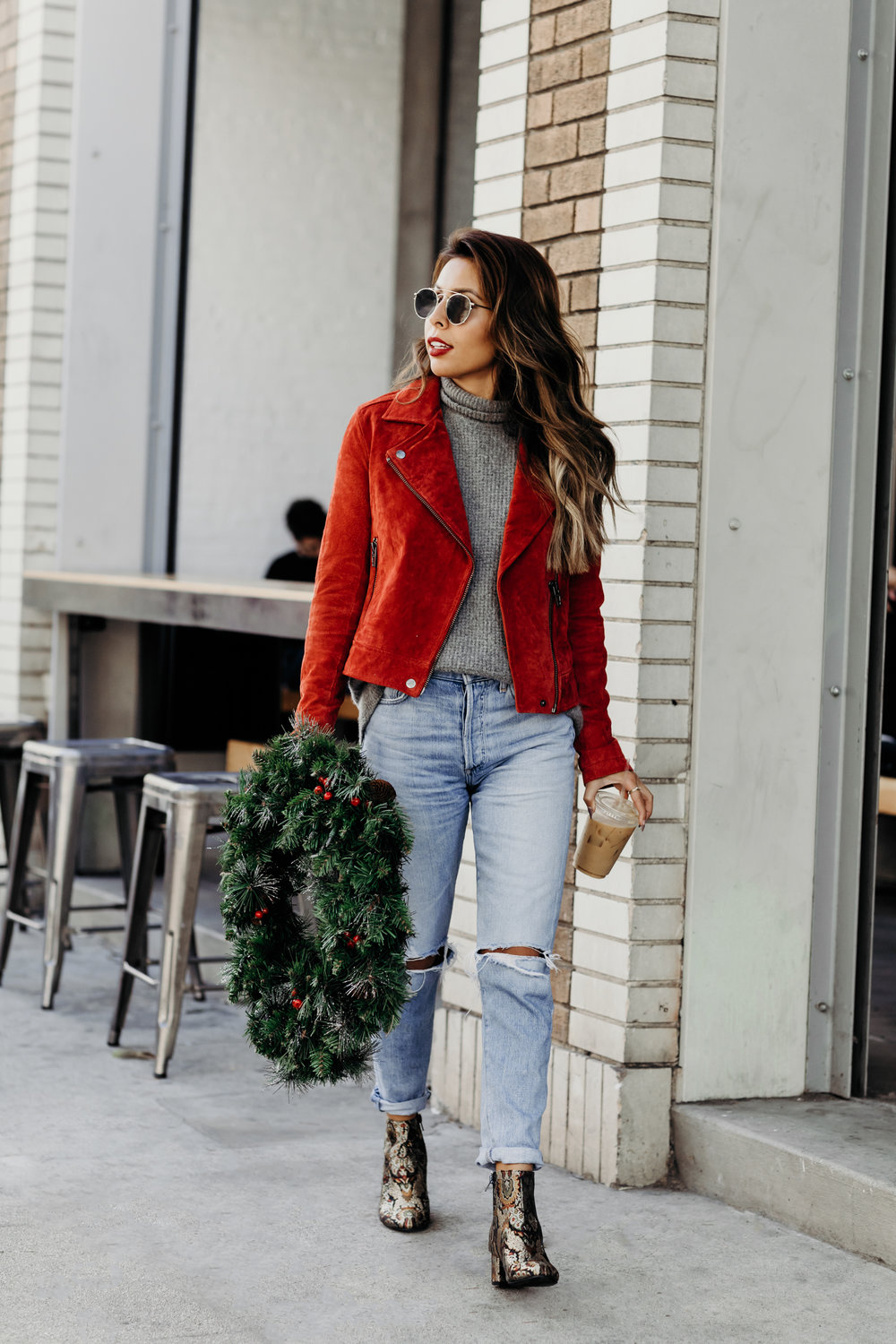 casual holiday look, outfit ideas for Christmas, booties and jeans look