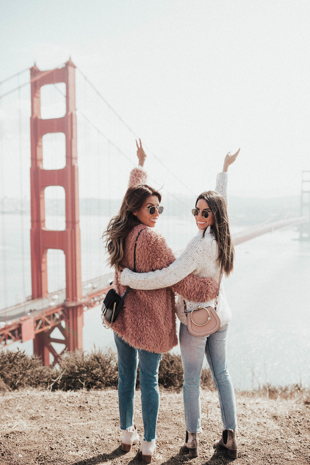 fuzzy sweater style, fall in San Francisco, jeans and booties outfit ideas