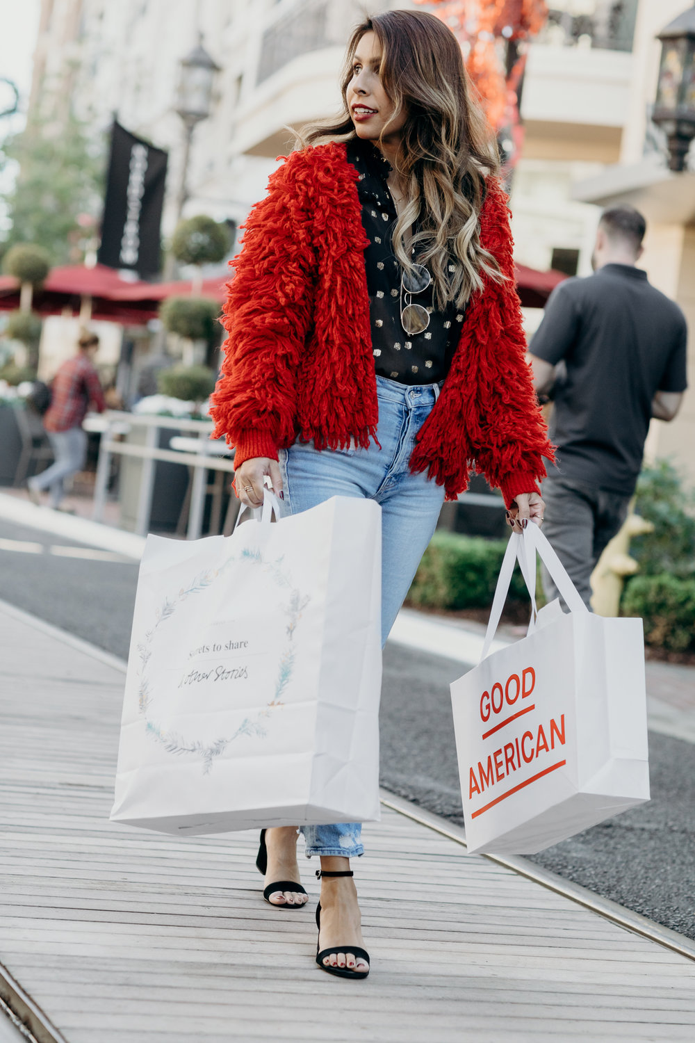 How to wear Red Fuzzy Jacket - Holiday Shopping at the Americana