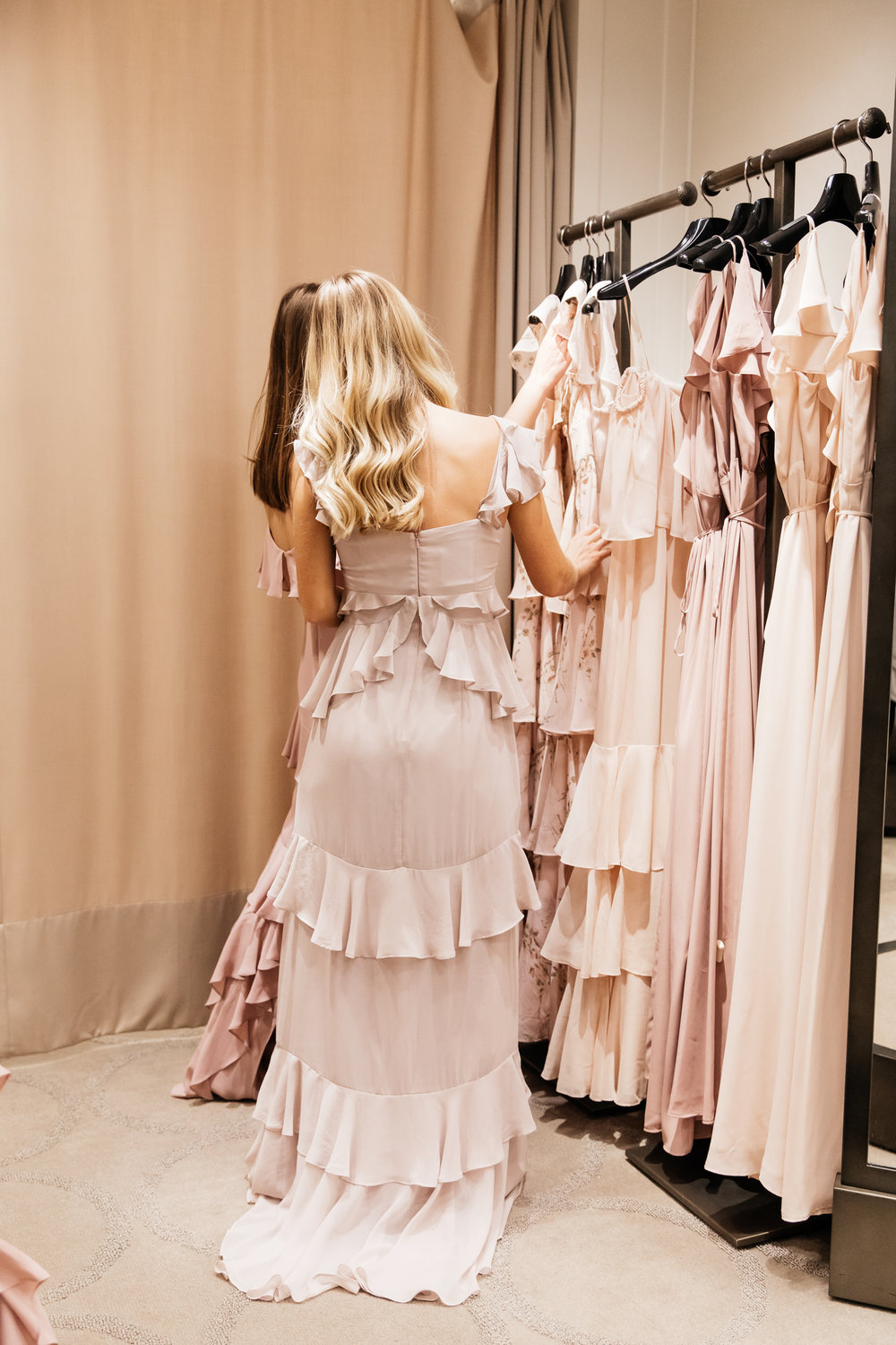 Ruffle details on WAYF Bridesmaid Dress