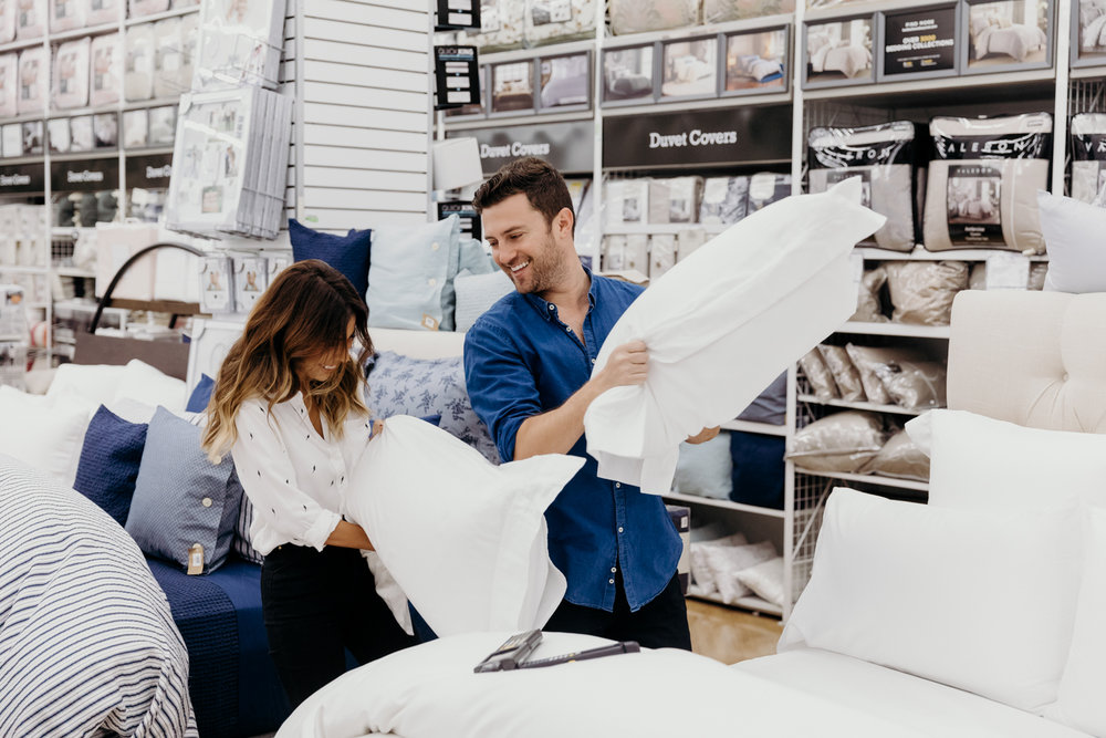 Pillow fights at Bed Bath + Beyond