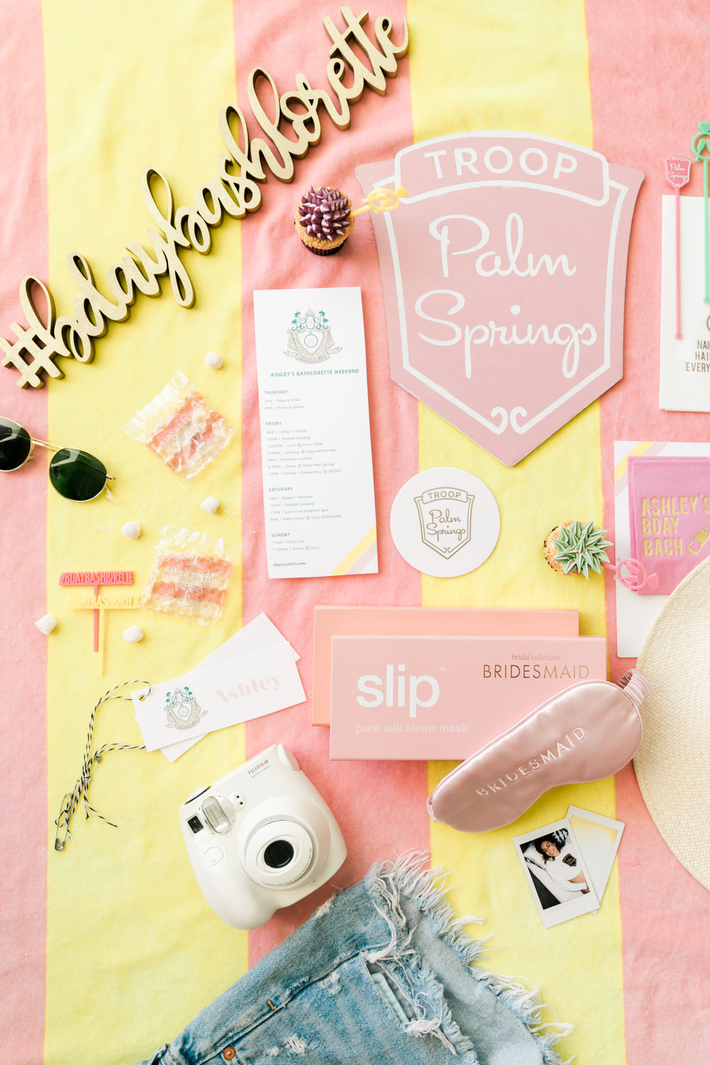 Palm Springs Bachelorette Decor: custom napkins, signs, drink stirrers, and sleep masks