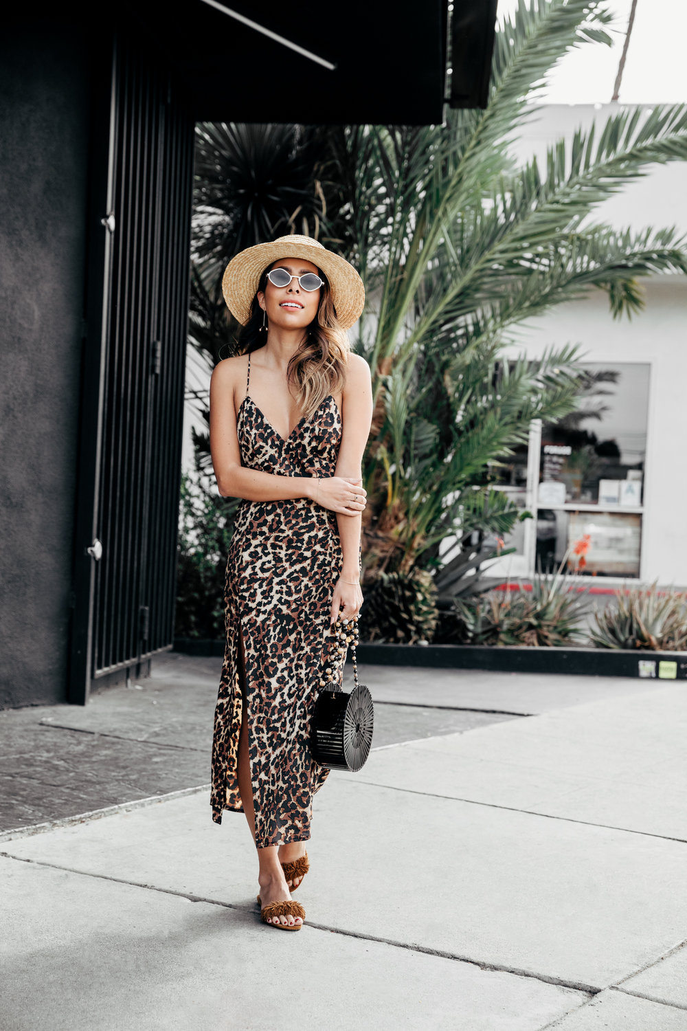 Leopard Slip Dress for Palm Springs Vacation - Everyday Pursuits