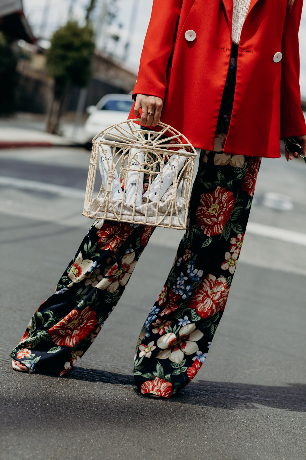 Spring outfit inspiration featuring Zara Red Blazer and Zara Floral Pants on Everyday Pursuits
