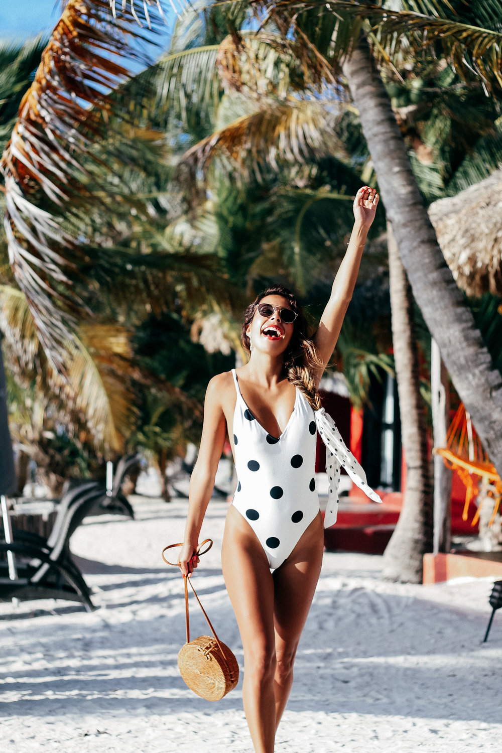Everyday Pursuit in Belize at Matachica Resort wearing Zara Polka Dot Swimsuit