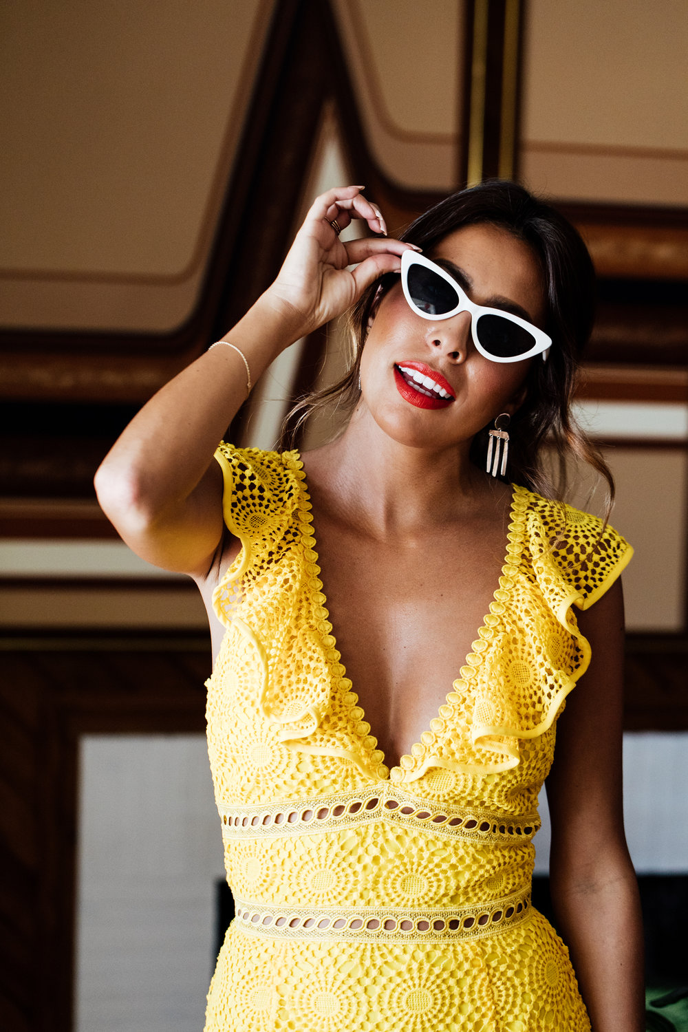 How to wear yellow this summer - Ashley Torres in Saylor Yellow Dress