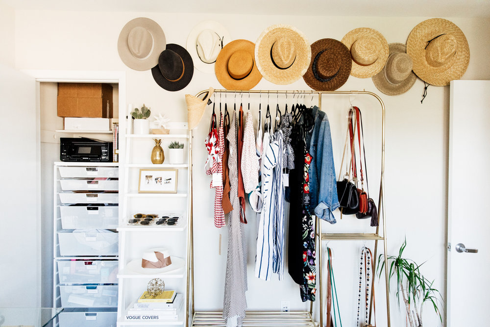 Gold Hanging Rack from Urban Outfitters - Home Office + Closet Refresh