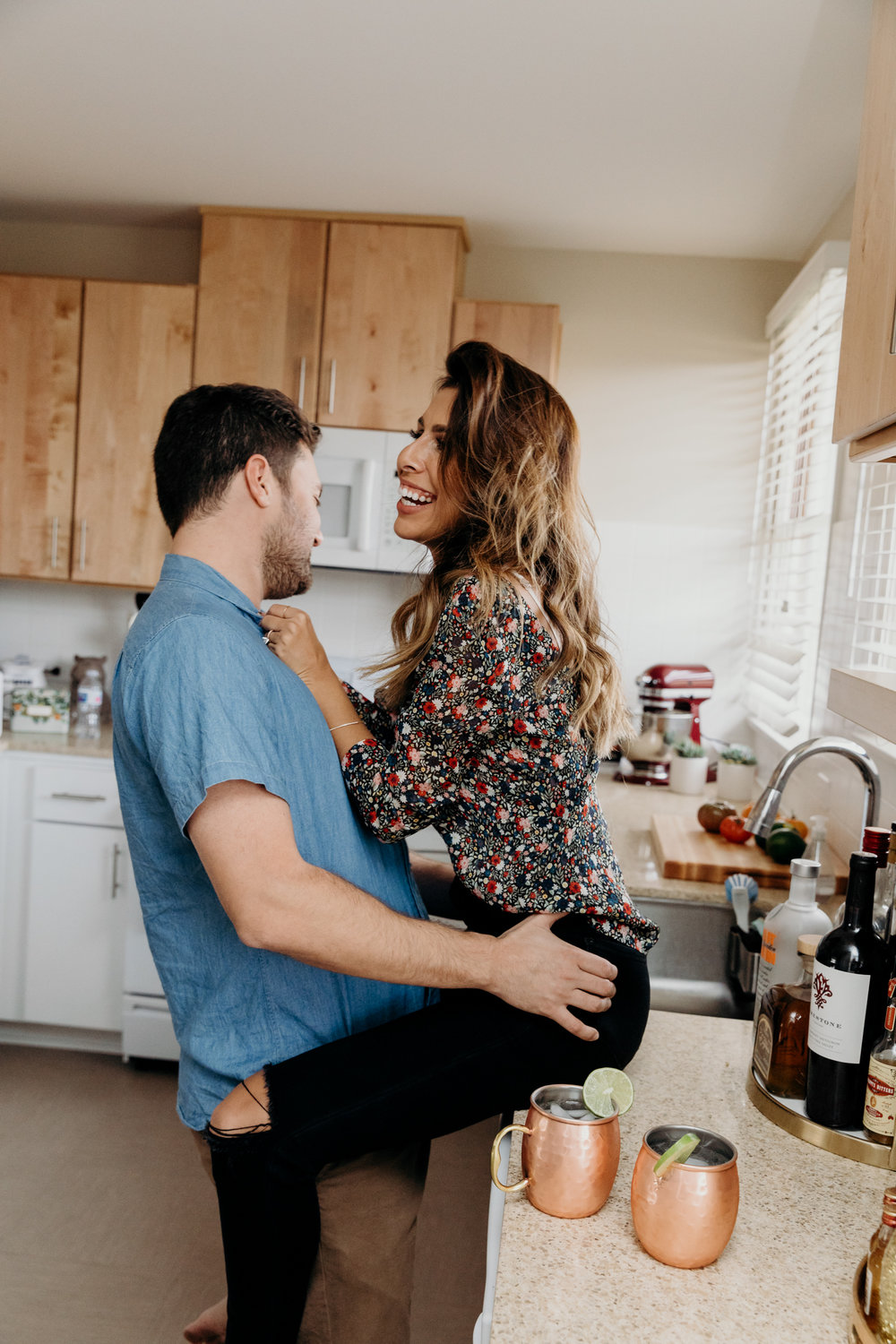 Everyday Pursuits Andy + Ashley: couples kitchen photoshoot
