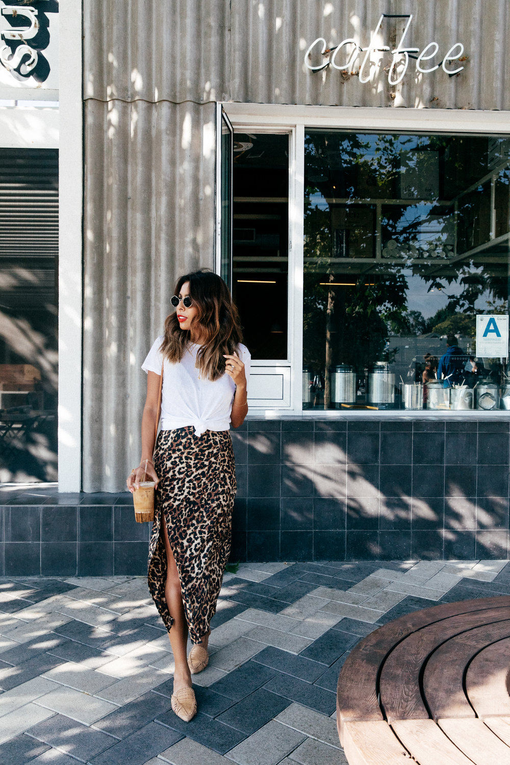 How to style a white tee shirt with slip dress. Endless Summer Leopard Dress.