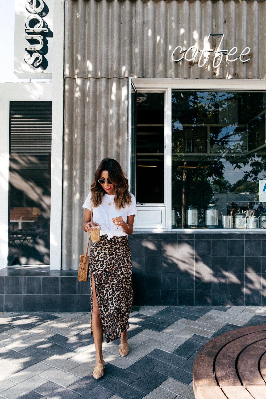 white tee + Endless Summer leopard dress