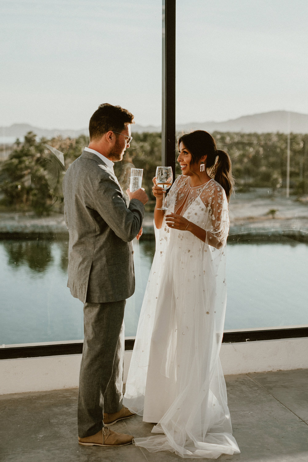 Los Cabos Wedding | White Jumpsuit + Cape for Wedding Welcome Reception