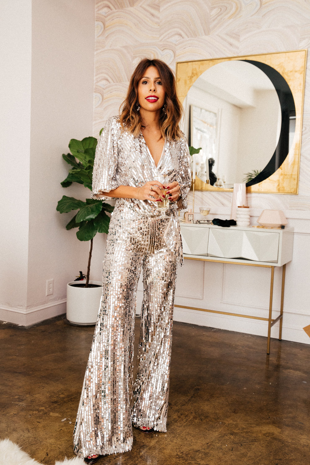 NYE outfit: zara sequin jumpsuit