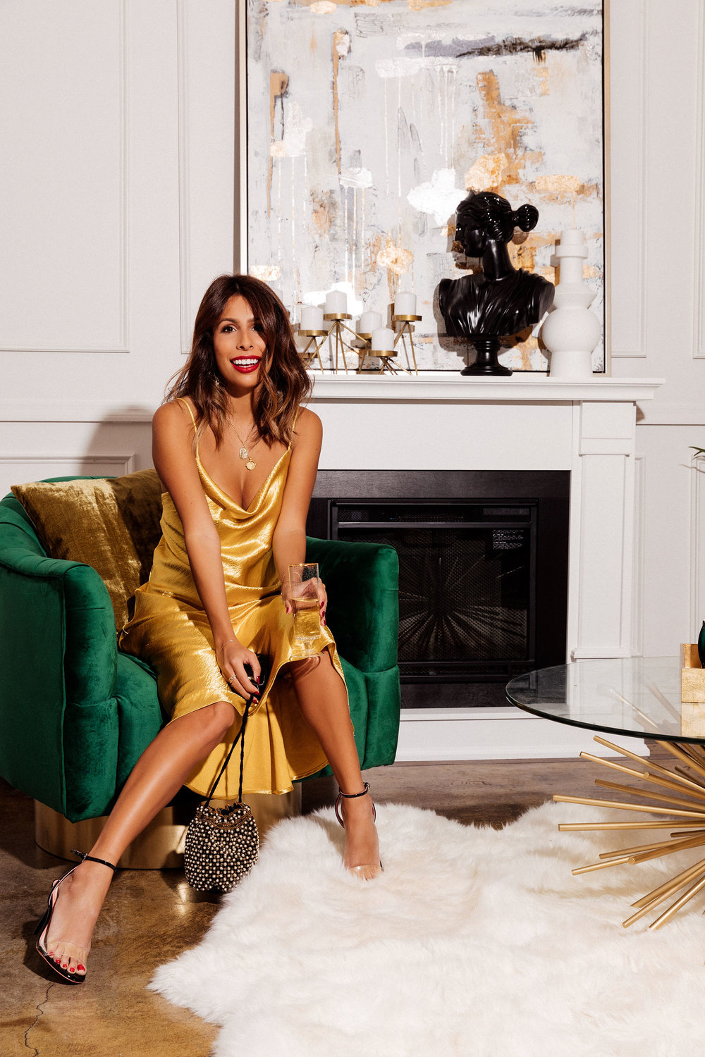 The perfect holiday dress: Endless Summer Gold Slip Dress