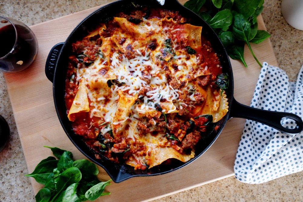 Spinach + Sausage Lasagna Recipe is the perfect weeknight meal