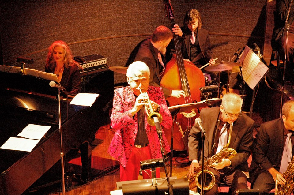 With Doc Severinsen at the Dakota Jazz Club, Minneapolis, MN. Mary Louise (p), Doc (tpt), Kevin Thomas (b), Stockton Helbing (d), Glenn Wilson (bari), Carlos Vega (alto).