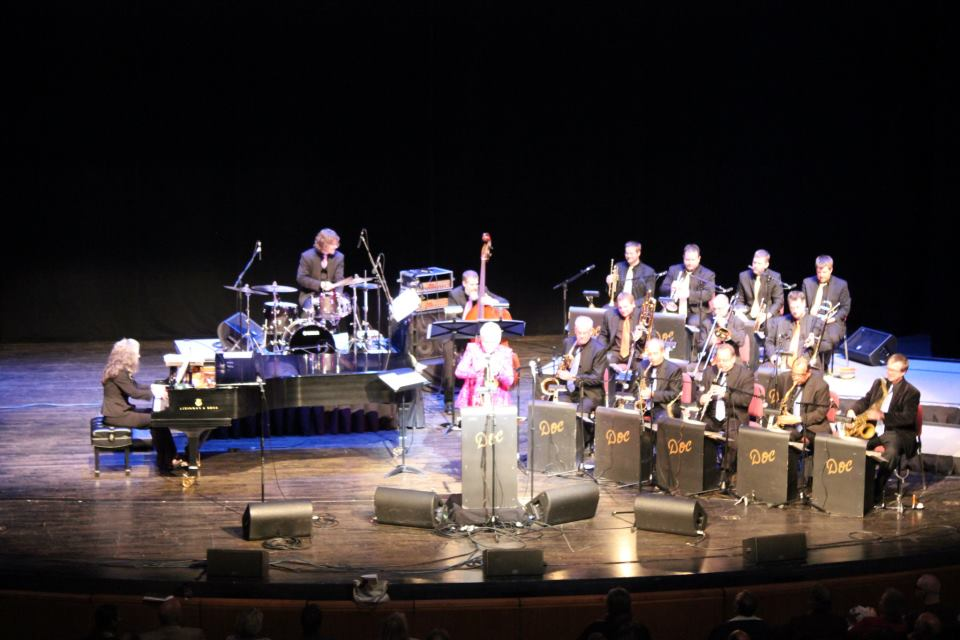 With Doc Severinsen at the Touhill Performing Arts Center, St. Louis, MO. Mary Louise (p), Stockton Helbing (d), Kevin Thomas (b), Doc (tpt), Glenn Wilson (bari), Carlos Vega (alto), Mike Migliori (ld alto), Ernie Watts (tnr), Chip McNeill (tnr), Dave Budimir (b tbn), Michael Nelson (ld tbn), Scott Agster (tbn), Adam Rossmiller (tpt), Brad Shermock (ld tpt), Mark Bobnick (tpt), Zack Lozier (tpt).