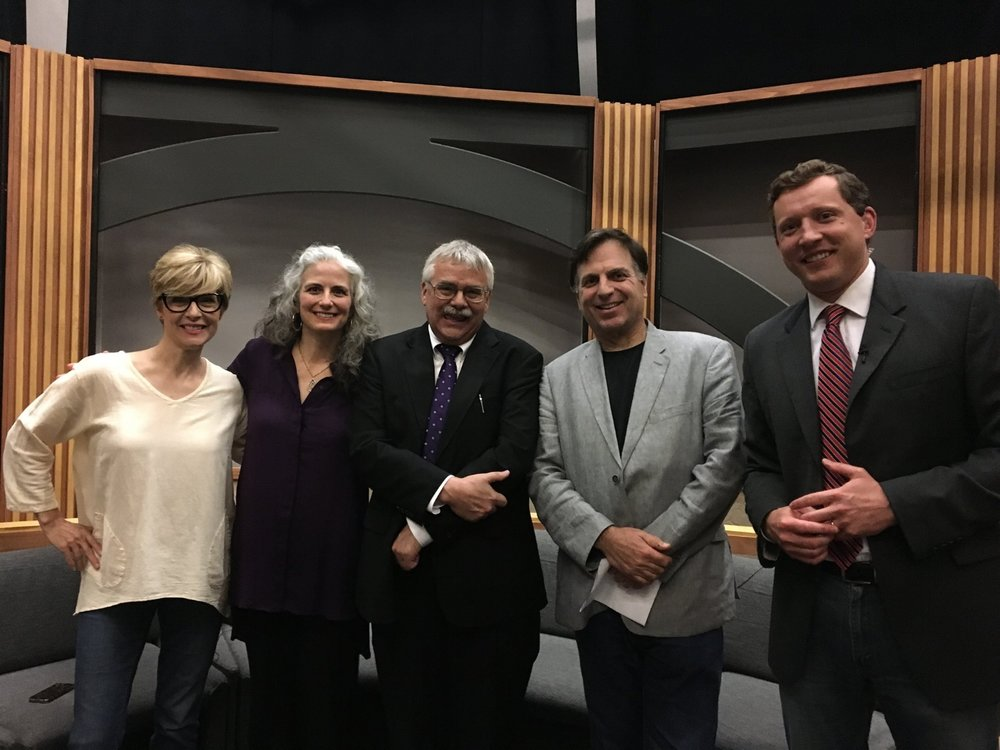 After performing on Twin Cities Television's  Almanac  - show host Cathy Wurzer, pianist Mary Louise Knutson, show host Eric Eskola, Twin Cities Jazz Fest director Steve Heckler, and show producer David Gillette.