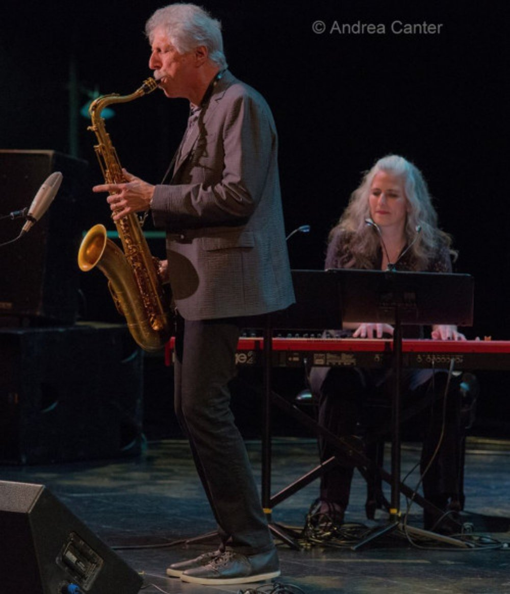 Pianist Mary Louise Knutson with saxophonist Bob Mintzer, Minneapolis, MN.
