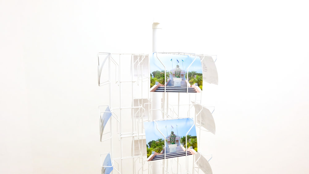 """Joiri Minaya / Proposal For Artistic Intervention on the Columbus Statue in Front of Government House, Nassau, 2017 / 5x7"""""""