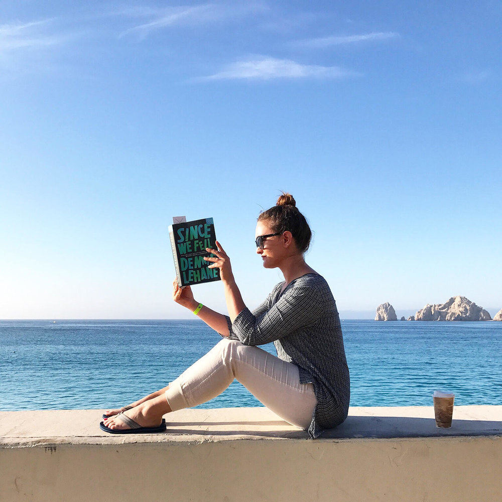 Reading Since We Fell by Dennis Lehane in Cabo, Mexico