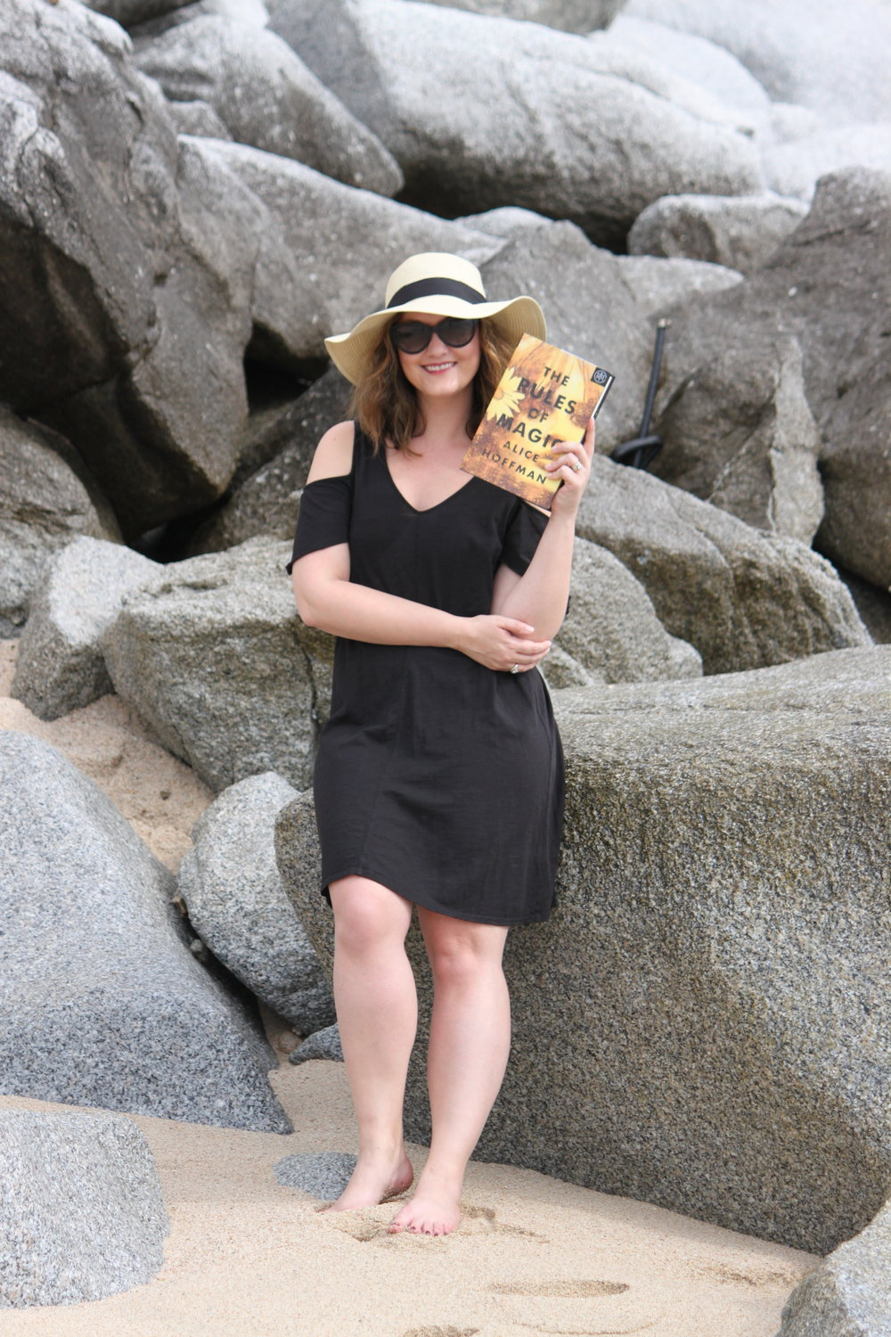 Reading The Rules of Magic by Alice Hoffman at Sirena del Mar in Cabo, Mexico