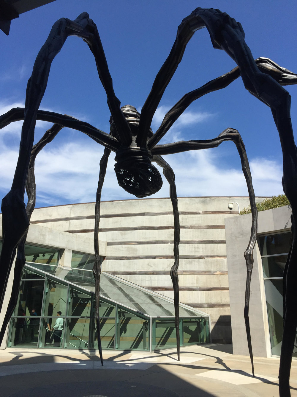Maman  by Louise Bourgeois at Crystal Bridges in Bentonville, Arkansas - book review of Broad Strokes by Bridget Quinn