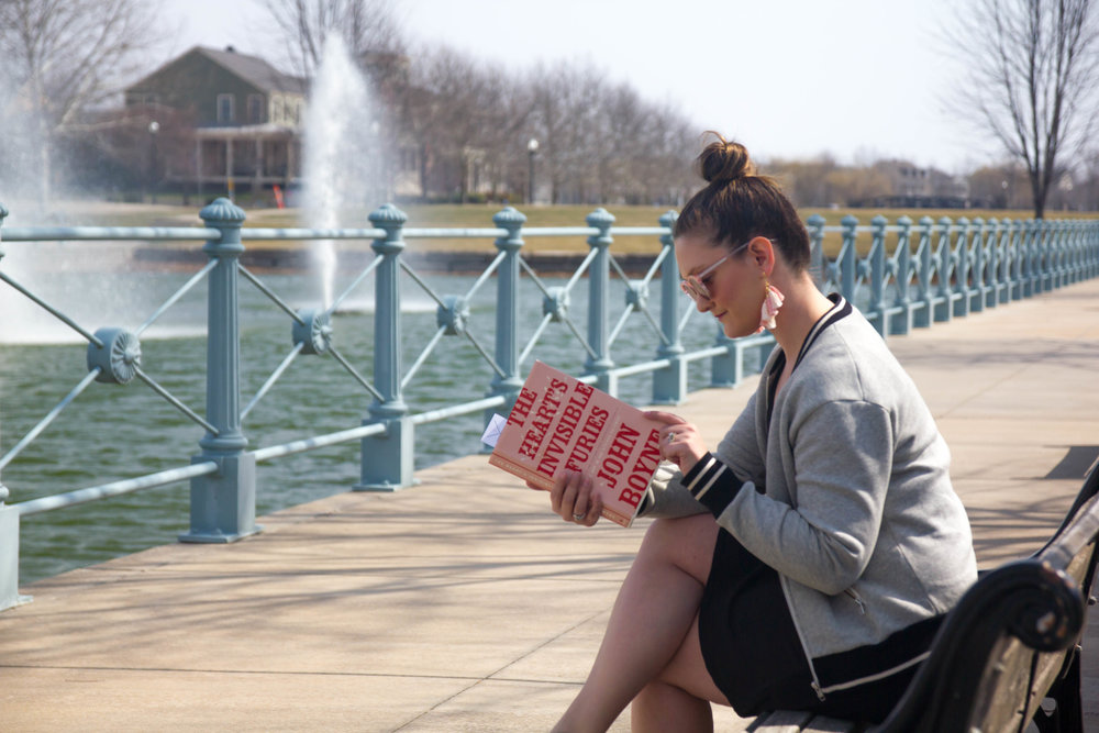 Reading The Heart's Invisible Furies by John Boyne in New Town at St. Charles, MO