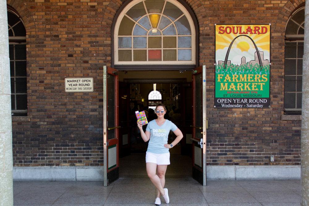 Reading Goodbye, Vitamin by Rachel Khong at the Soulard Farmer's Market in St. Louis