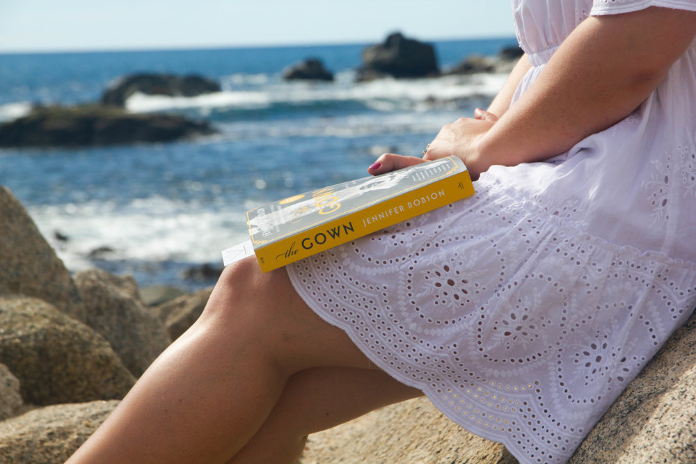 Reading The Gown by Jennifer Robson at Sirena del Mar, a Welk Resort in Cabo, Mexico