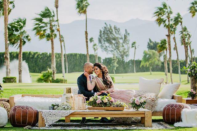 These two are as HAWT as the thermometer today! Stay cool out there everyone! . Venue: @dtreepalmsprings Planner: @ajitachopraevents  Designer & Décor: @shawnayamamoto @ nicolesyandco DJ/Lighting/LED screen @3dsounds Beauty @dolledupbylulu Bakery @tastytemptationsla Luxury Car @royalexoticcarrental Stationary @inviteink Video @aveclumierproductions Band @luckydevilsband Henna @nehaassar