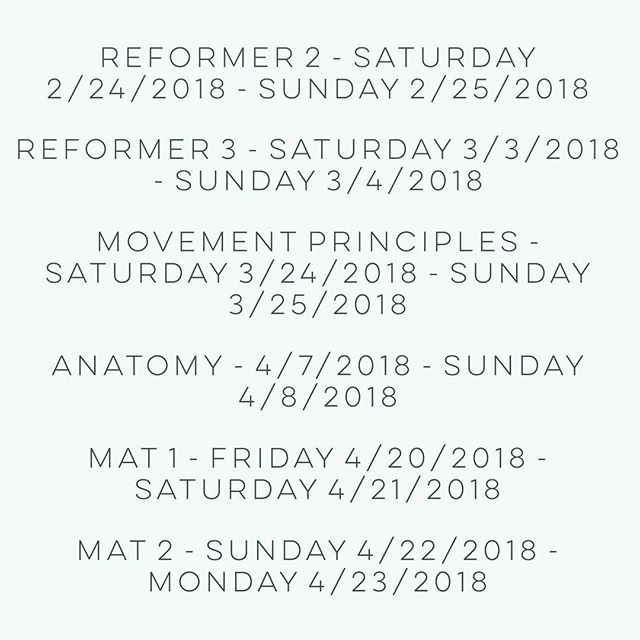 Here are our Pilates teacher training dates through April! Movement Principles and Mat 1 are great places to start.... For details about the program as well as further dates, head to our website (link in bio)! We'd love to share what we know and grow our community of knowledgeable and trustworthy Pilates instructors💪 . . . . . #workout #pilates #healthylifestyle #nashvillescene #nashville #health #fitness #groupfitness #canneryrownashville #mindbodysoul #balancedbody #mindbodyconnection #fit #strength #nashvillefitness #nashvillepilates #pilatesreformer #pilatesteachertraining