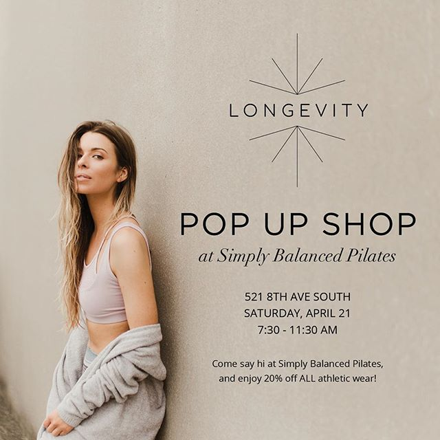 🚨Event Alert! 🚨  Come say hey on Saturday April 20th for a PoP Up Shop event with @longevityboutique from 7:30am to 11:30am! •Enjoy 20% off all athletic wear!  #nashville #simplybalanced #longevityboutique #nashvillepopup #shop #pilates #nashvilleworkout #nashvillestyle #health #nashvillefashion