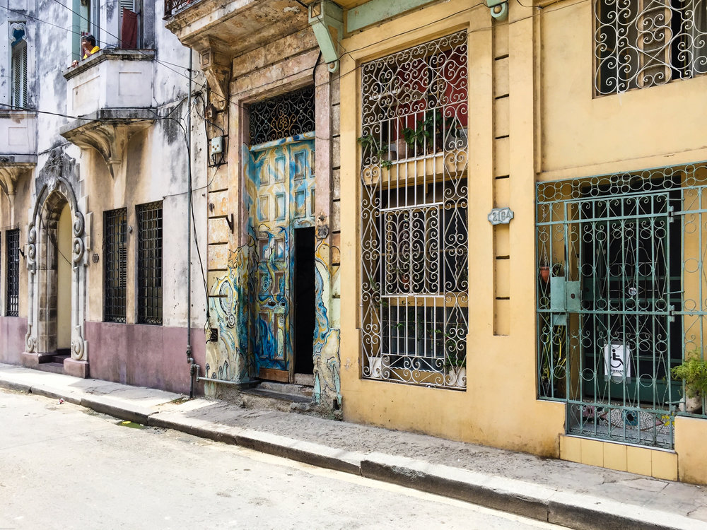 Swirling, carefully painted street art in Havana