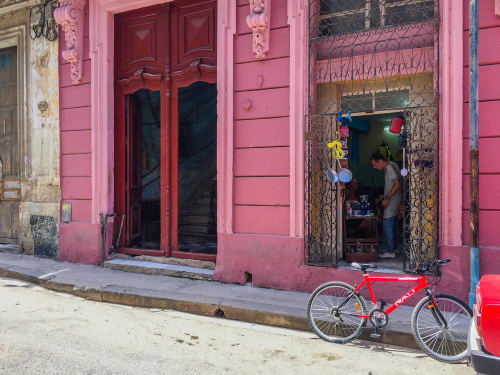 Incredibly stunning pink building in Havana