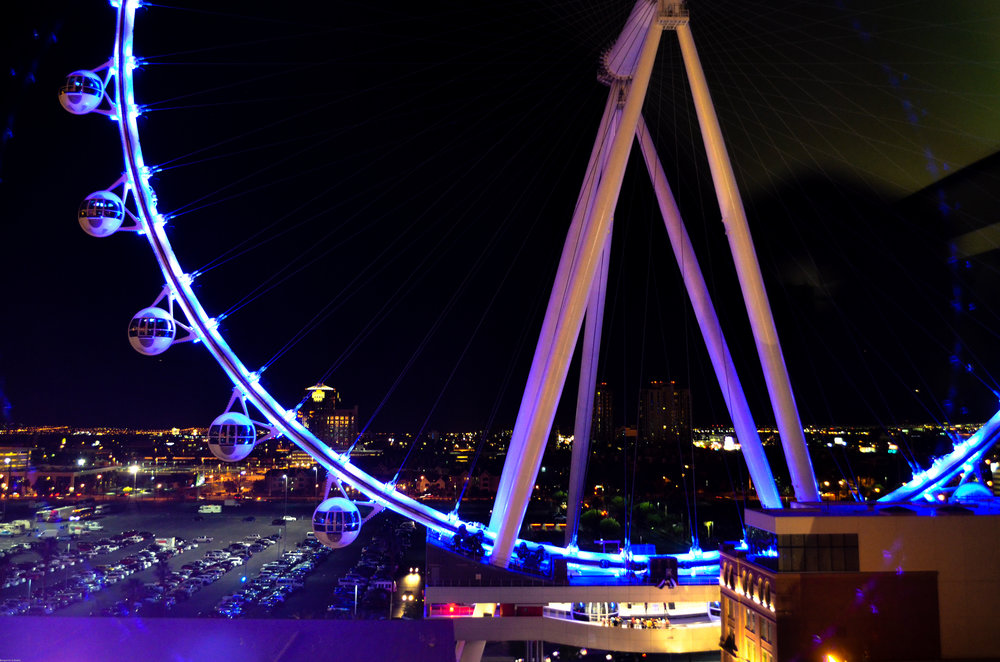Lovely night view of the High Roller, right outside our window!
