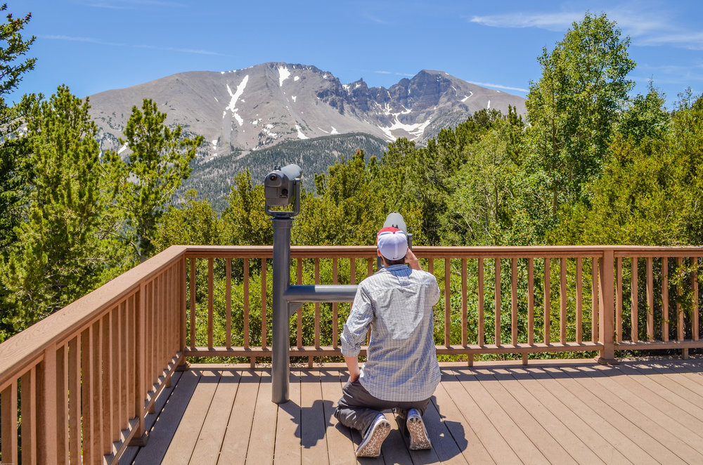 Mr. Nerd looking at Wheeler Peak from a pull-out on the mountain