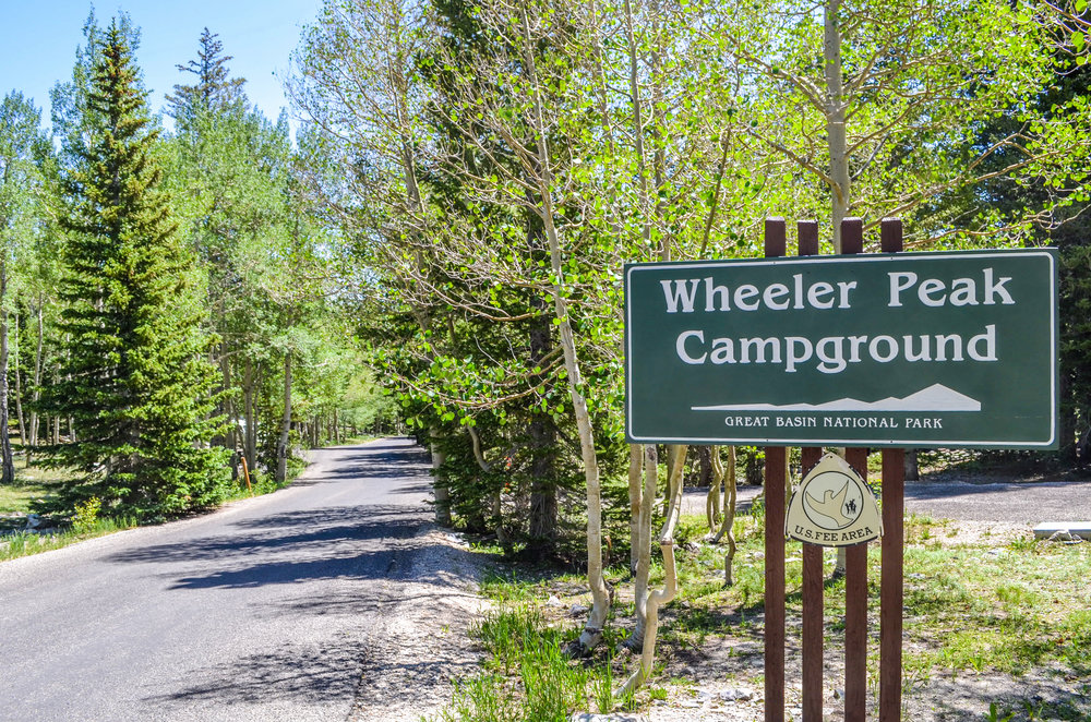 Wheeler Peak Campground sign right next to the trailhead