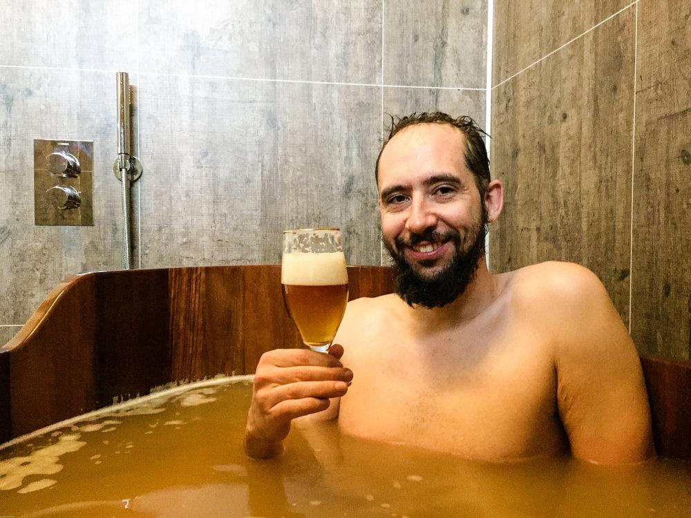 Mr. Nerd enjoying a good pour of Icelandic lager