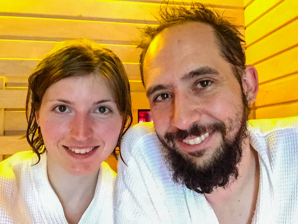 Obligatory non-selfie of the nerds in the sauna!
