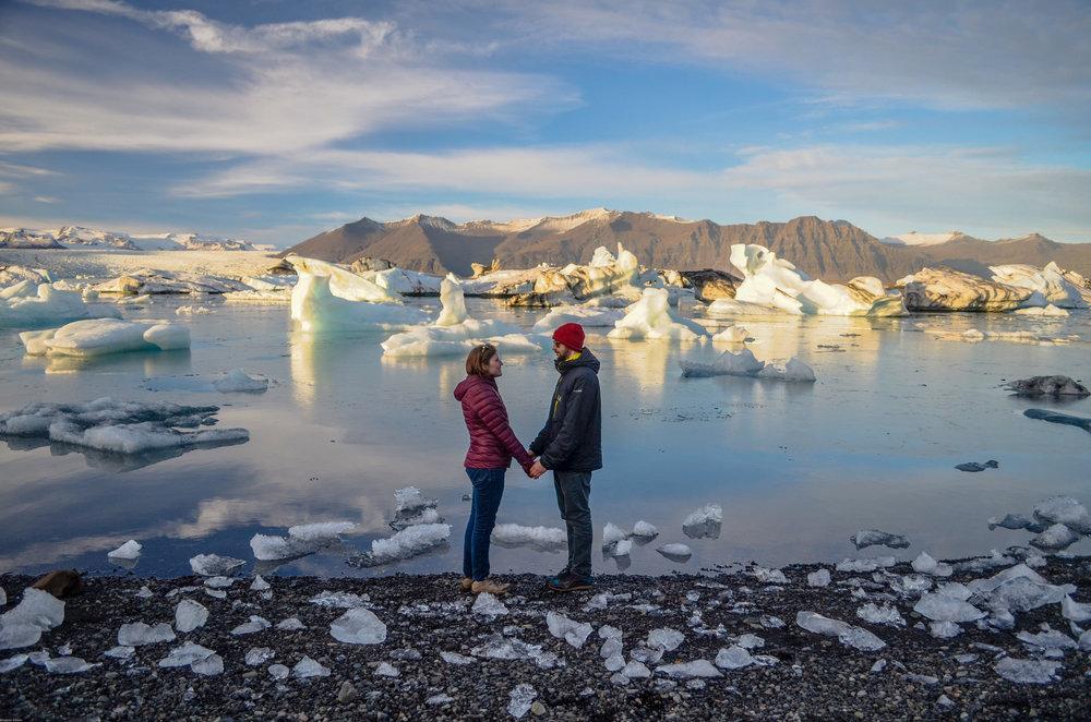 Mr. and Mrs. Nerd at Jökulsárlón, a glacier lagoon in Iceland