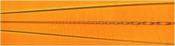 A 115 OD fiber tapered to 38 µm while twisting with variable pitch. Image was taken with index matching fluid to reveal the core.