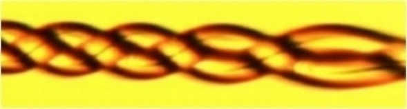 Two 28 µm OD fibers braided with a 50 µm pitch.
