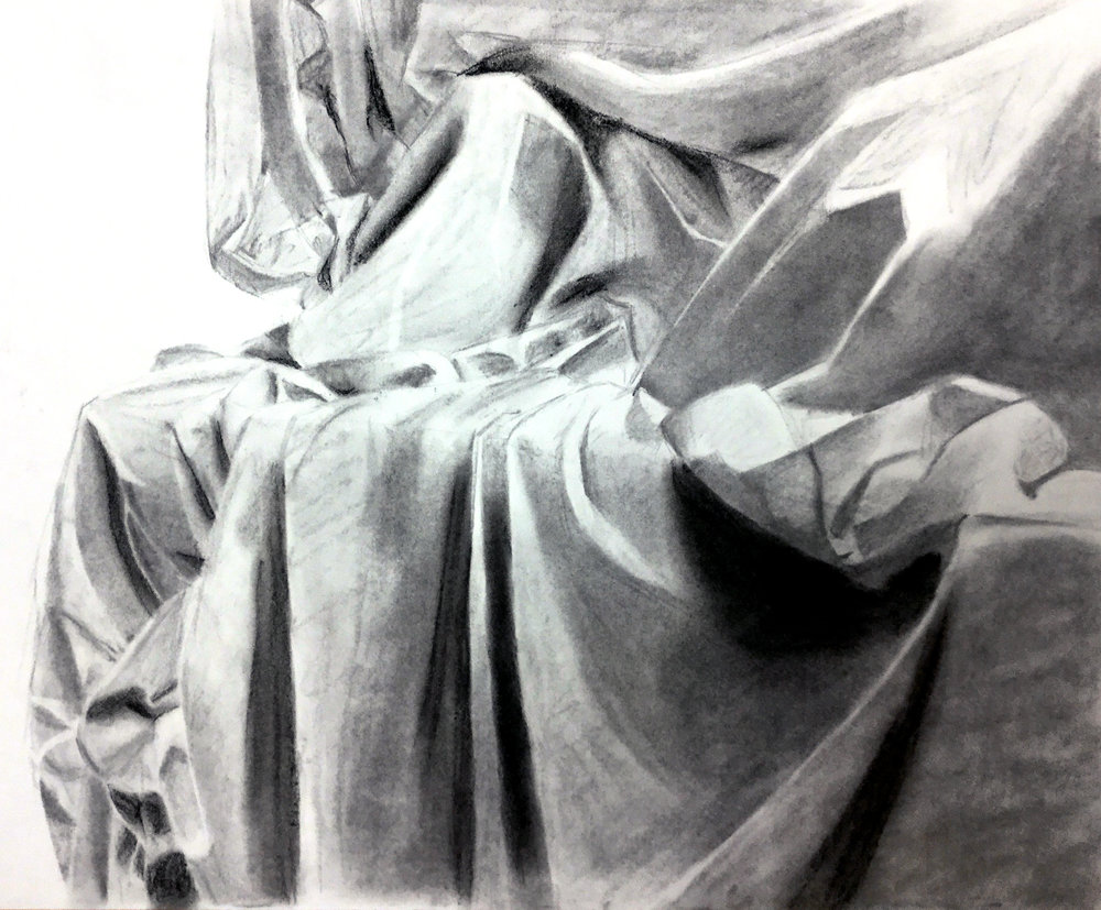 GENERAL DRAWING FOR NON MAJORS- Utica College    Fabric Study   Two hour in class study of the abstract nature of fabric. Special attention given to shape, form, and value.  Charcoal on Paper