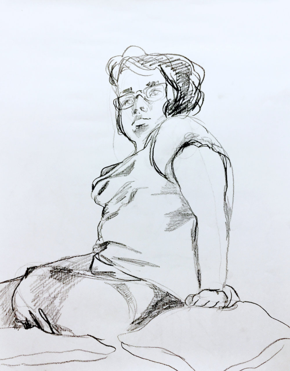 COMMUNITY EDUCATION TEEN PORTFOLIO DEVELOPMENT- Munson Williams and Proctor Arts Institute.    Peer Figure Sketch   Students take turns modeling for peers in quick ten minute poses.  Charcoal on Paper