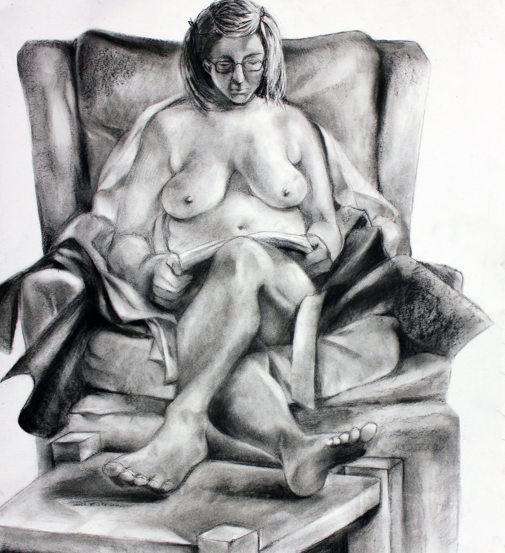 PAINTING AND DRAWING FOR NON MAJORS- Syracuse University    Figure   Students work with live model in class.  Charcoal on Paper