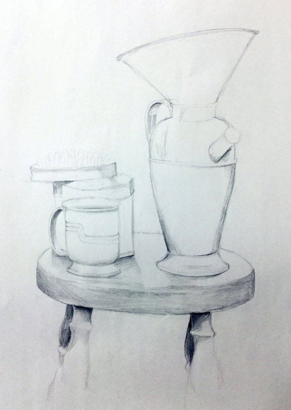 COMMUNITY EDUCATION TEEN PORTFOLIO DEVELOPMENT- Munson Williams and Proctor Arts Institute.    Contour Line   Two hour in class study of still life. Students goal is using contour line to define shape of simple objects.  Graphite on Paper